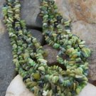 NEW GREEN 5 ROW WESTERN NATURAL NUGGET NECKLACE SET