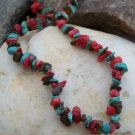 NEW RED TURQUOISE WESTERN NATURAL NUGGET NECKLACE SET
