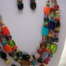 ORANGE RED BLACK PURPLE GLASS LAMPWORK NECKLACE SET