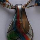 RED GREEN BLUE BROWN BLACK GLASS LAMPWORK NECKLACE SET