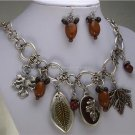 BROWN CHARM FALL LEAF LEAVES HARVEST NECKLACE SET