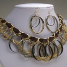 GOLD P SILVER EP CIRCLE BROWN LAYERED NECKLACE SET
