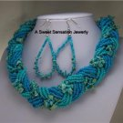 BLUE AQUA TURQUOISE WESTERN BRAIDED WOVEN NECKLACE SET