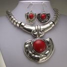 CHUNKY RED TURQUOISE WESTERN STATEMENT NECKLACE SET