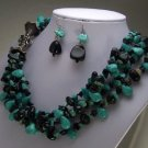 BLACK BLUE TURQUOISE WESTERN NUGGET NECKLACE SET