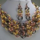 GRAY GREY COPPER P GOLD EP SILVER TONE BIB NECKLACE SET