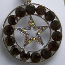 NEW BROWN WESTERN LONESTAR STAR 40 CRYSTAL PENDANT