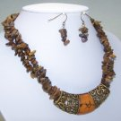 BROWN TURQUOISE GOLD P WESTERN NUGGET NECKLACE SET