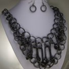 GREY GRAY BIB STATEMENT NECKLACE SET