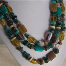 BROWN BLUE TURQUOISE GLASS LAMPWORK WOOD NECKLACE SET