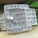 NEW CLEAR WESTERN COWGIRL BELT BUCKLE CUBIC ZIRCONIA CZ RING SIZE 8