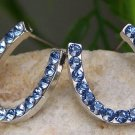 NEW BLUE WESTERN HORSESHOE HORSE 34 CRYSTAL EARRINGS