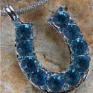 NEW BLUE WESTERN COWGIRL HORSESHOE 32 CRYSTAL NECKLACE