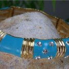 NEW BLUE TEAL CRYSTAL GOLD TONE BAMBOO BANGLE BRACELET