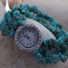 NEW TURQUOISE WESTERN 22 CRYSTAL NUGGET BRACELET WATCH