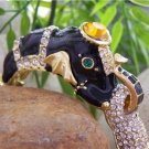 NEW BLACK SAFARI CRYSTAL ELEPHANT ANIMAL PRINT BANGLE