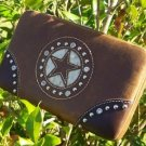 NEW BROWN WESTERN TEXAS STAR CRYSTAL CHECKBOOK WALLET