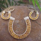 NEW WESTERN GOLD EP CRYSTAL HORSE HORSESHOE PENDANT SET