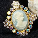 NEW BLUE LADY CAMEO PORTRAIT 40 CRYSTAL METAL BROOCH