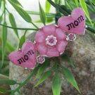 NEW PINK MOM MOTHERS DAY FLOWER HEART CRYSTAL BROOCH