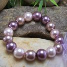 NEW PINK PURPLE FAUX PEARL BEAD BRACELET