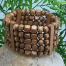 NEW BROWN WOOD BEAD 5 FIVE ROW BANGLE BRACELET