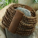 NEW BROWN WIDE WOOD BEAD TEN ROW BANGLE BRACELET
