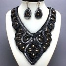 NEW BLACK SEQUIN RESIN BEAD BIB STATEMENT NECKLACE SET