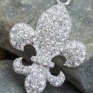NEW FRENCH FLEUR DE LIS CRYSTAL PENDANT NECKLACE SET