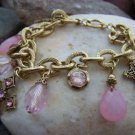 NEW PINK RELIGIOUS GOLD EP ANTIQUE STYLE CROSS BRACELET