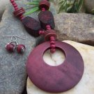 NEW LONG RED WOOD CIRCLE HOOP NECKLACE SET