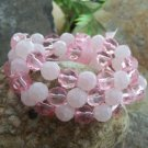 NEW PINK ROSE COLOR 3 THREE PIECE BEAD BRACELET