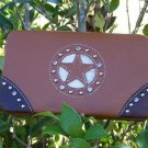 NEW BROWN WESTERN STAR RHINESTONE CHECKBOOK FLAT WALLET