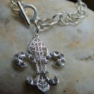 NEW FRENCH FLEUR DE LIS CRYSTAL FILIGREE CHARM BRACELET