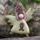 New Pink Ribbon Breast Cancer Awareness Heart Angel Pin Brooch