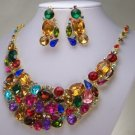 NEW MULTI BROWN RED BLUE CRYSTAL BRIDAL NECKLACE SET