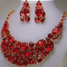 RED BIB STATEMENT CRYSTAL BRIDE BRIDAL NECKLACE SET