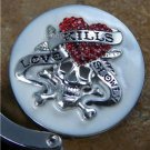 White Love Kills Skeleton Heart Crystal Silver Tone Handbag Purse Hook Caddy Holder