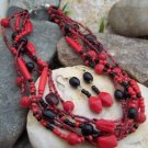 NEW BOHO RED BLACK MULTISTRAND SEED BEAD NECKLACE SET