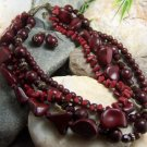 NEW BOHO DARK RED MULTISTRAND MIX BEAD NECKLACE SET