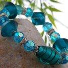 NEW SPARKLING BLUE  MURANO GLASS BRACELET