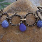 NEW ANTIQUE STYLE PURPLE TEAR DROP RING CIRCLE BRACELET