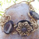 NEW GRAY GREY GOLD TONE CIRCLE RHINESTONE BRACELET