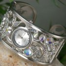 NEW SILVER TONE CRYSTAL BRACELET BANGLE WATCH