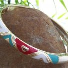NEW HOT RED AQUA WHITE METAL HINGE BANGLE BRACELET