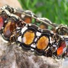 NEW BROWN ANTIQUE STYLE RHINESTONE BANGLE BRACELET