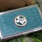 NEW BLUE WESTERN TEXAS CREDIT BUSINESS CARD CASE