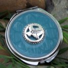 NEW BLUE WESTERN TEXAS STATE CRYSTAL COMPACT MIRROR