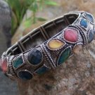 NEW ANTIQUE LOOK MULTI COLOR RHINESTONE BANGLE BRACELET