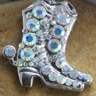 NEW AB WESTERN BOOT BOOTS CRYSTAL NECKLACE PENDANT